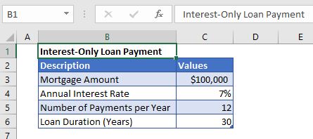 Interest-only Payment example data