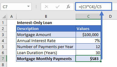 Interest-only Payment example result