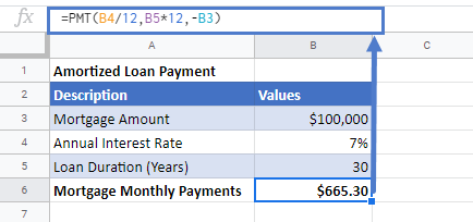 Calculate Loan Payment in Google Sheets