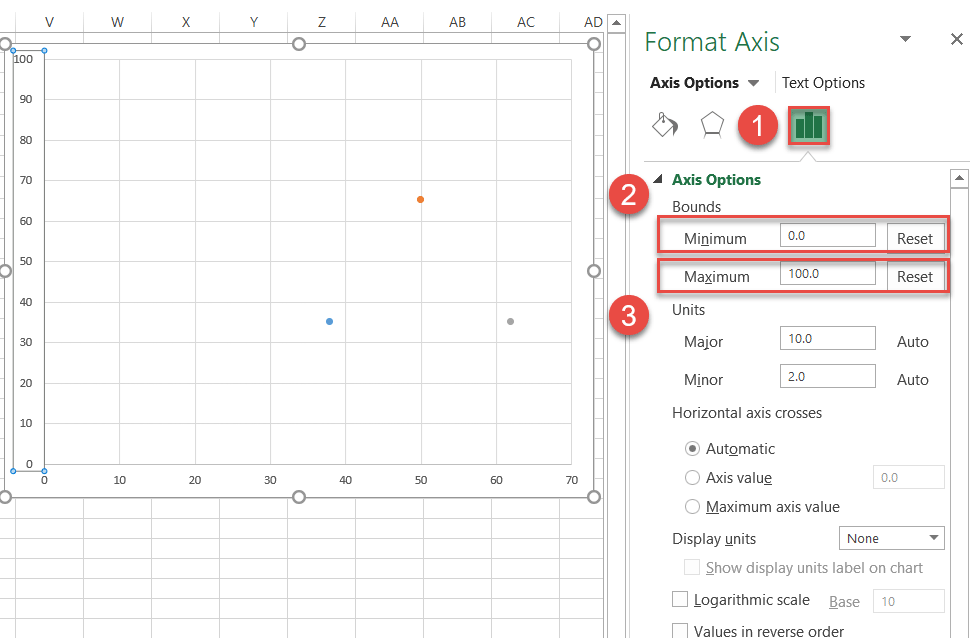 Change the horizontal and vertical scale ranges