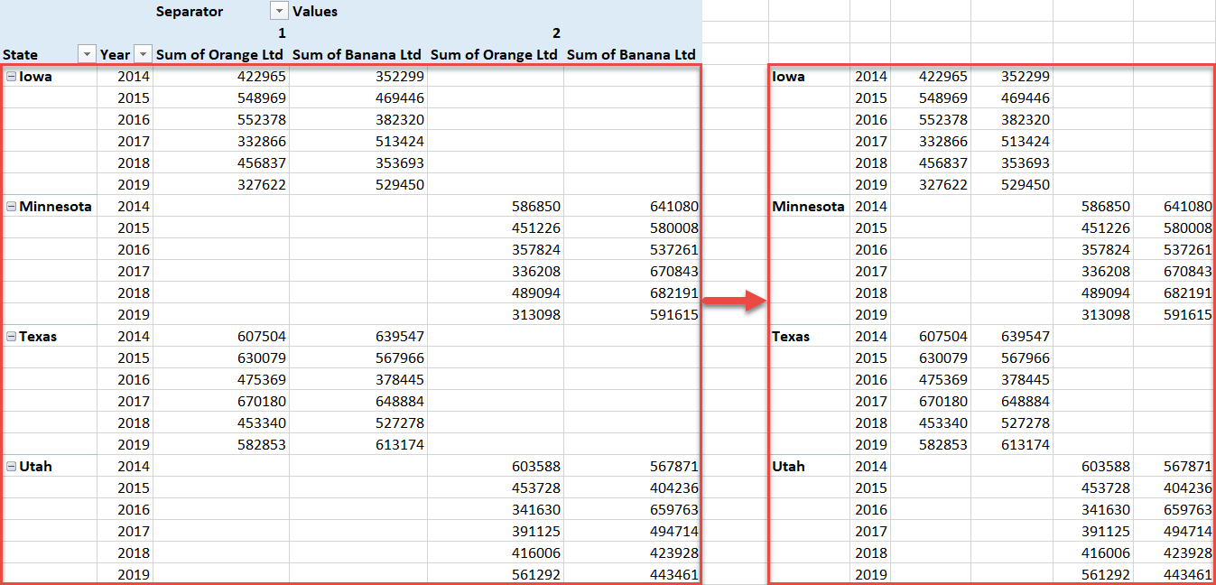 Extract the data from the pivot table