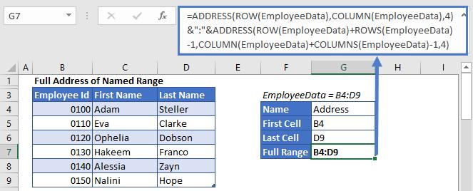 Full Relative Address of Named Range