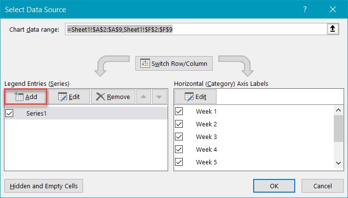 Select Data Source dialog box in Excel
