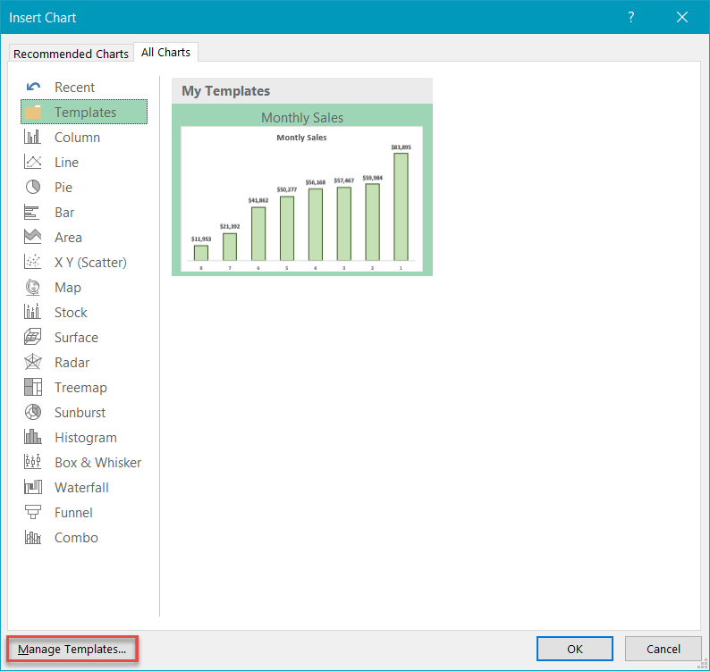 Managing Excel chart templates
