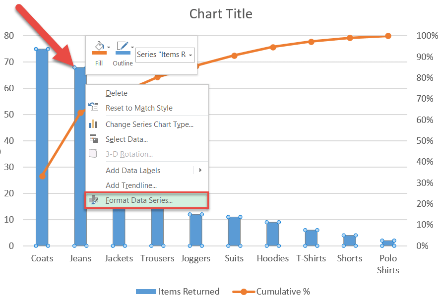 Open the Format Data Series task pane in Excel