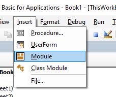 vba vbe insert module