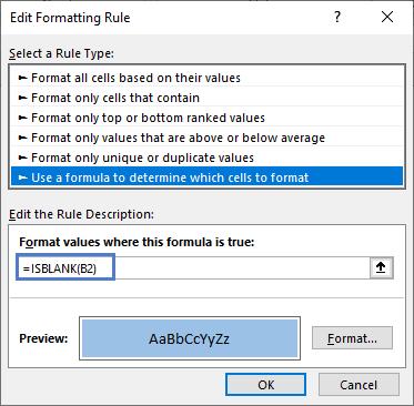 Edit Formatting Rule ISBLANK