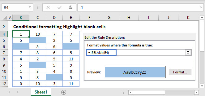 Excel Highlight Blank Cells Main