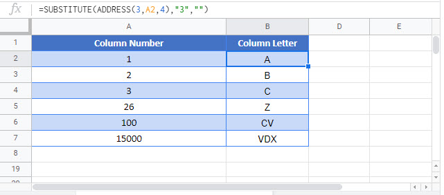 convert column number to letter Google Function