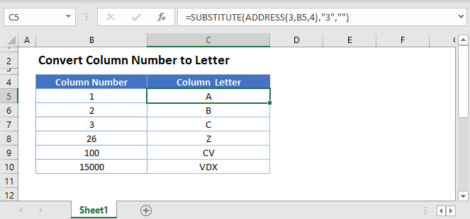 convert column number to letter Main Function