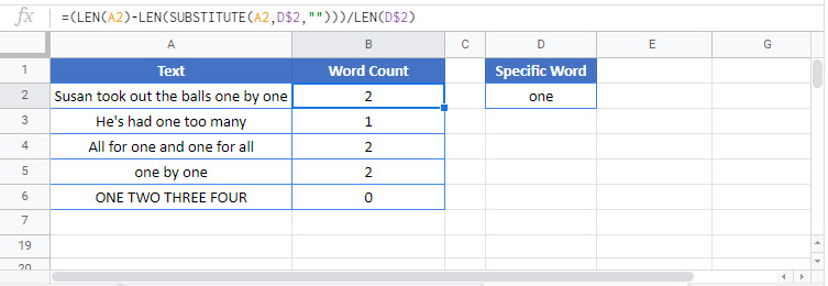 count times word appears in cell Google Function