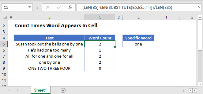 count times word appears in cell Main Function