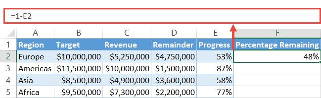 Create column Percentage Remaining