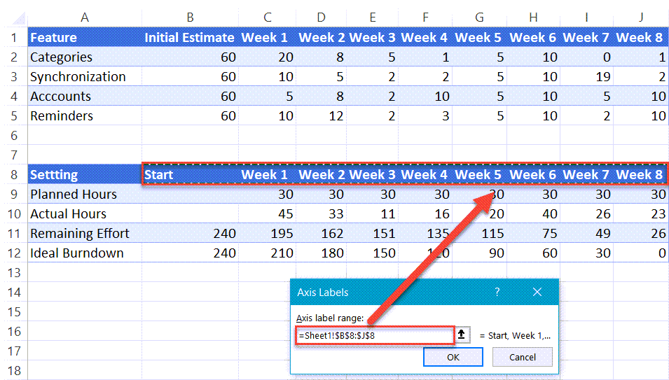 Modify horizontal axis labels in Excel