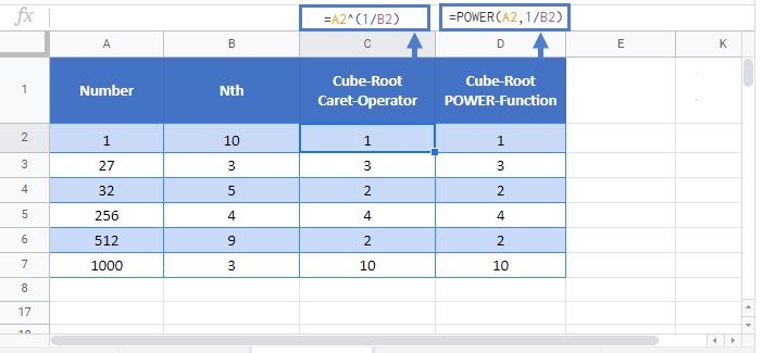 nth root Google Function