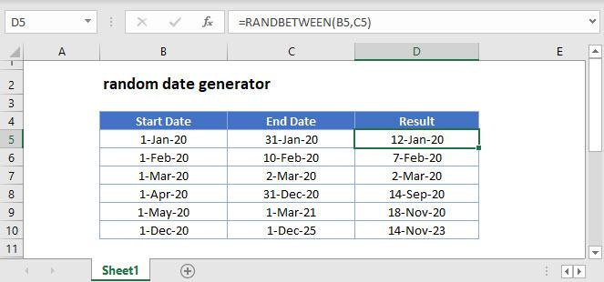 random date generator Main Function