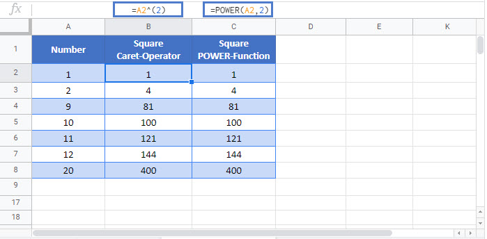 square numbers Google Function