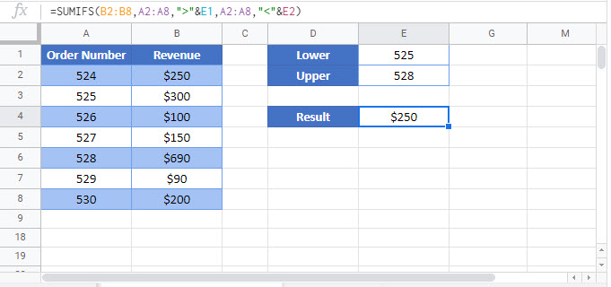 sum if between values Google Function