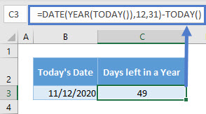 Days left in a Year (TODAY)