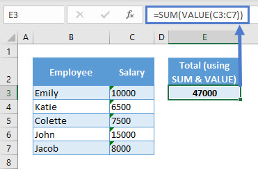 SUM Numbers Stored as Text