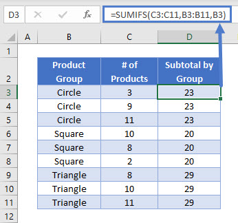 SUMIFS by Group-Calc1