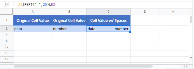add spaces to cell Google Function