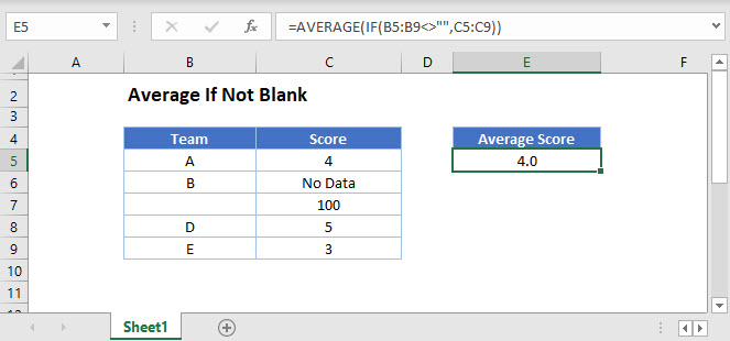average if not blank Main Function