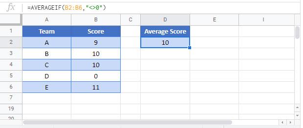 average ignore 0 Google Function