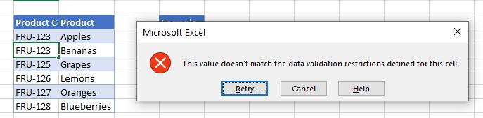 data validation countif error