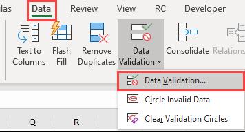 data validation data ribbon