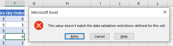 data validation does not exceed errror