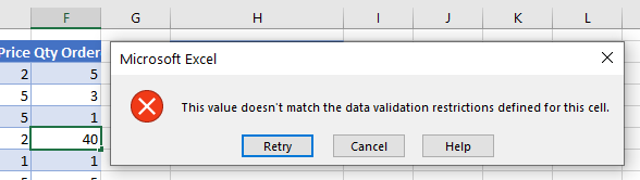 data validation does not exceed total error