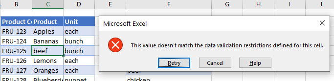 data validation does not exist error