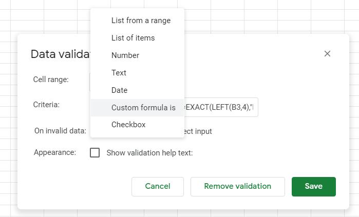data validation exact google sheets formula