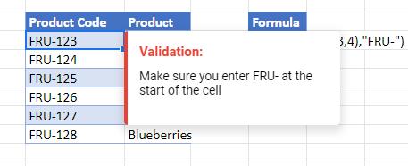 data validation exact google sheets message