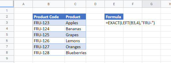 data validation exact google sheets