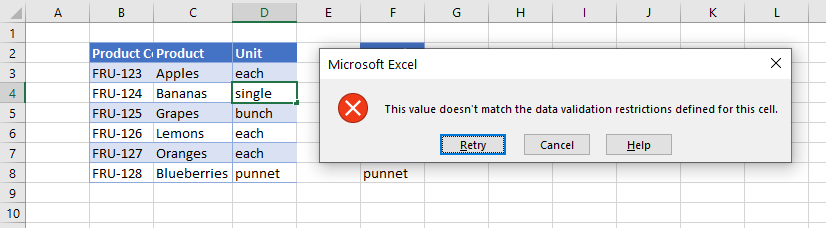 data validation exists in list error