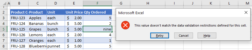 data validation isnumber error