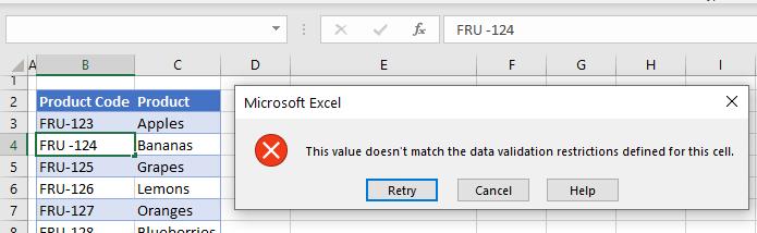 data validation subsitute error