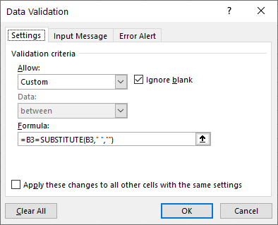 data validation substitute settings