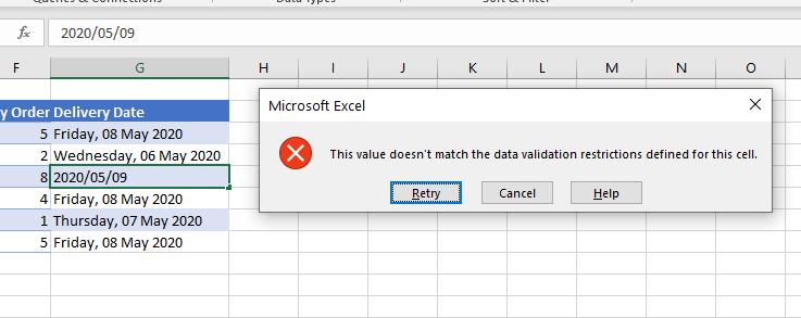 data validation weekdays only error