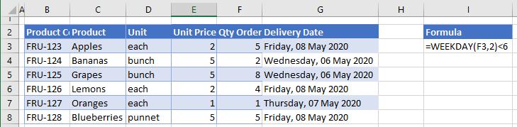 data validation weekdays only
