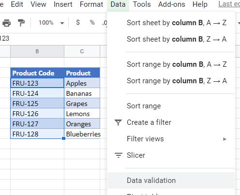 data validation exact google sheets settings
