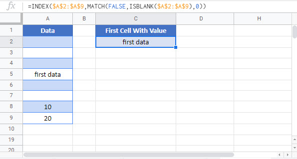 find first cell with any value Google Function