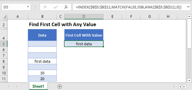 find first cell with any value MAIN Function