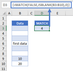 find first cell with any value Match