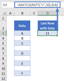 find last row with data 01