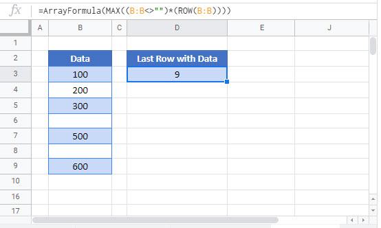 find last row with data Google Function