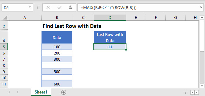 find last row with data Main Function