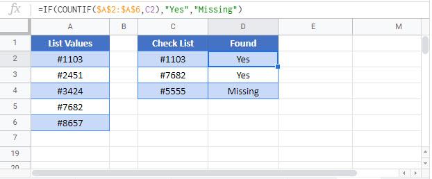find missing values Google Function
